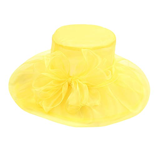 hositor Sun Hats for Women, Women's Organza Church Kentucky Derby Fascinator Bridal Tea Party Wedding Hat Yellow ()