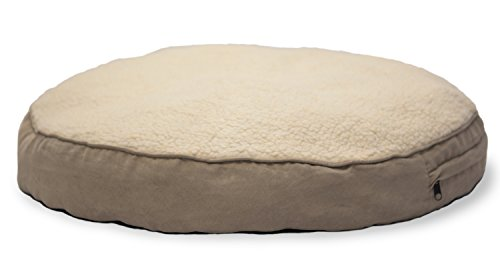 (FurHaven Pet Dog Bed | Faux Sheepskin & Suede Round Pillow Pet Bed for Dogs & Cats, Clay, 26-Inch)