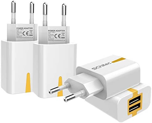 SCHITEC Cargador USB de Pared 2 Puertos, 4Pack 5V / 2.1A Adaptador de Pared portátil Adaptador de Corriente para Enchufe de Viaje en el hogar para ...