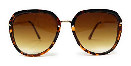 SunMod - 90s Hipster Round Horn Rimmed Flat Lens Plastic Sunglasses with Metal Brow Bar for Women Men Unisex UV400 - SM1132 (Tortoise Gold/Amber Gradient) ()