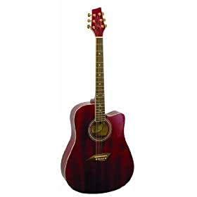 Kona K1TRD Acoustic Dreadnought Cutaway Guitar in Transparent Red Finish 12