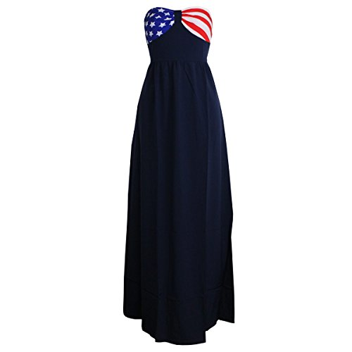 Flag And Banner Patriotic Strapless Maxi Dress X-Large