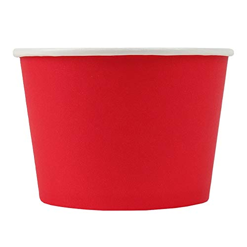 Red Paper Ice Cream Cups - 8 oz Eco-Friendly Dessert Containers - Perfect For Your Yummy Foods! Many Colors & Sizes - Frozen Dessert Supplies - Fast Shipping! 50 Count