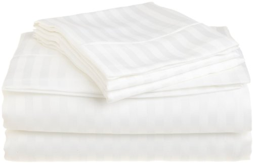 Stripes White 300 Thread Count Twin Extra Long size Sheet Set 100 % Egyptian Cotton