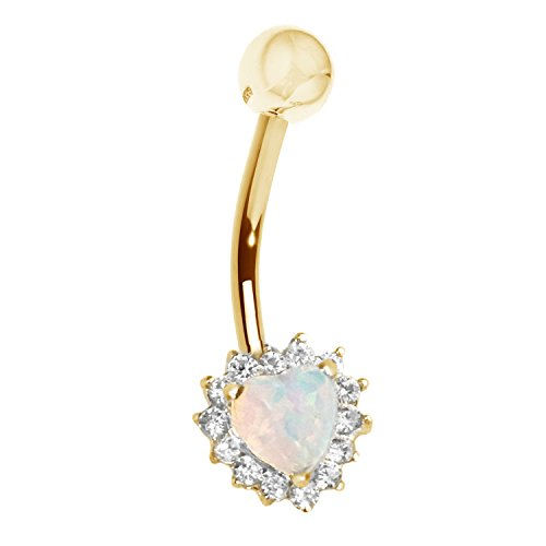 14k Yellow Gold Heart Cubic Zirconia Created Opal Belly Ring Body Jewelry 25mm (14k Belly Button Gold Ring)