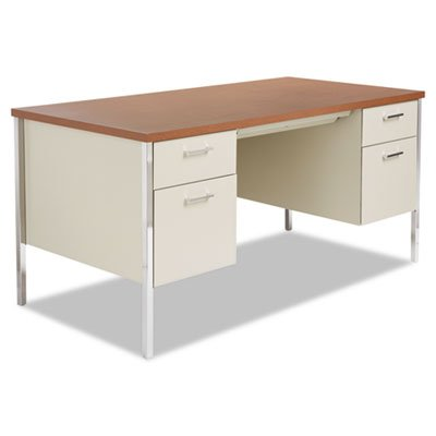 Alera Double Pedestal Steel Desk, 60w x 30d x 29-1/2h, Oak/P