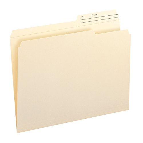 Smead File Folder, Reinforced 2/5-Cut Right Position Printed Tab, Guide Height, Letter Size, Manila, 100 Per Box (10388)