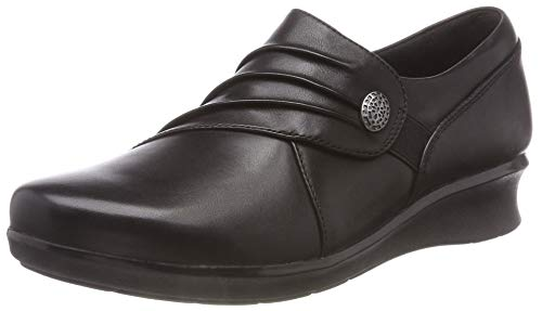 CLARKS Hope Roxanne Womens High Cut Ruched Leather Shoes 10.5 M US Black