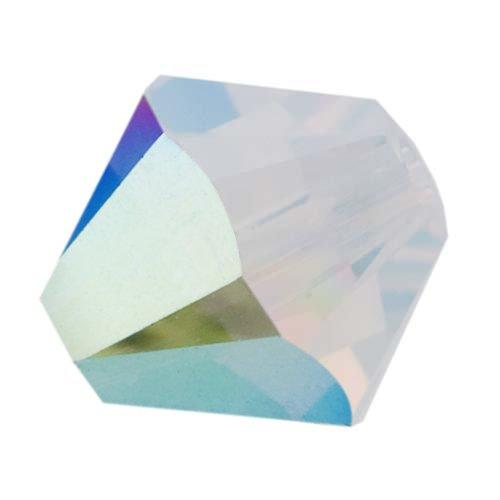 Swarovski Crystal, 5328 Bicone Beads 4mm, 24 Pieces, White Opal AB