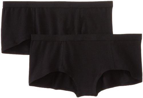 (Pact Women's 2-Pack Organic Cotton Boyshort Panties, Black, Medium)