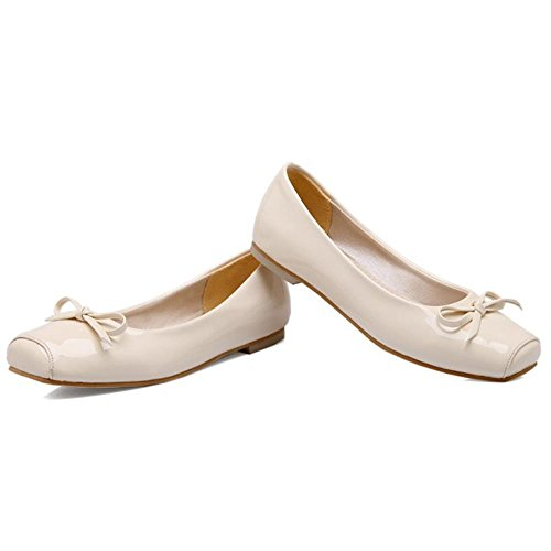 Tamano sin Dolly Extra Cordones Bowknot COOLCEPT Plano Mujer Chicas Zapatos Ballet Beige Bombas con 741wUq