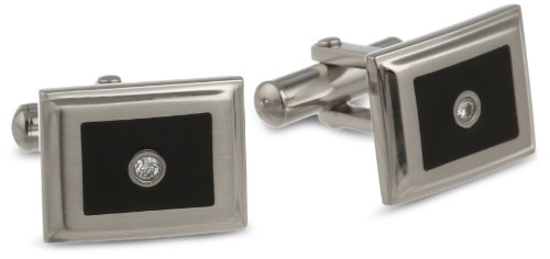 Stainless Enamel Diamond Accent Cufflinks