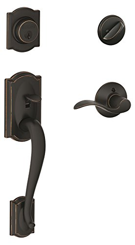 Schlage Camelot Single Cylinder Handleset and Accent Lever, Aged Bronze (F60 V CAM 716 ACC) ()