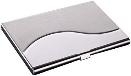 Visitenkartenhalter Visitenkartenetui Männer Frauen Edelstahl aufnehmen kann 12 Visitenkarten Bürobedarf (Farbe: Silber, Größe: 9.3 * 5.8 * 0,7 cm) Einfache Visitenkarte Fall