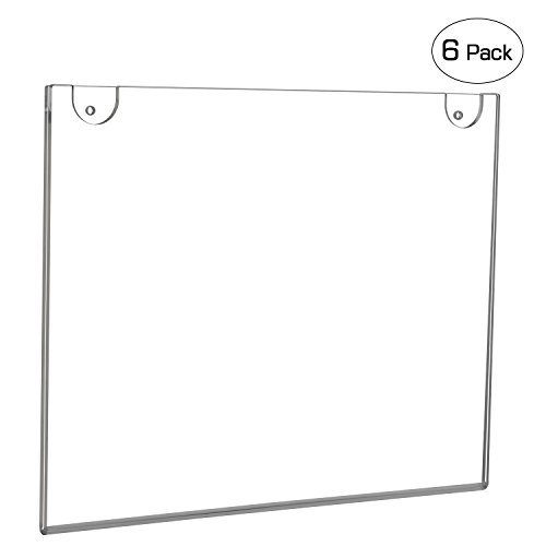 Horizontal Bend (NIUBEE Wall Mount Sign Holder 11 x 8.5 Inch- Clear Acrylic Picture Frame for Paper- Horizontal(6 Pack))