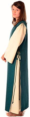 Leinenstruktur Beige reine mit mit Kleid Grün Baumwolle S Mittelalter Damen XL Skapulier naturbeige HEMAD waBP7n