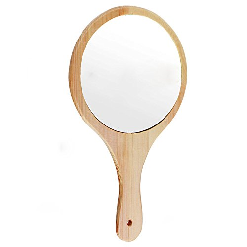 Y.F.M Natural Wood Mirror Wooden Hand Mirror Vintage Portable Compact Makeup Vanity Hand Held Mirror with Handle for Women Travel