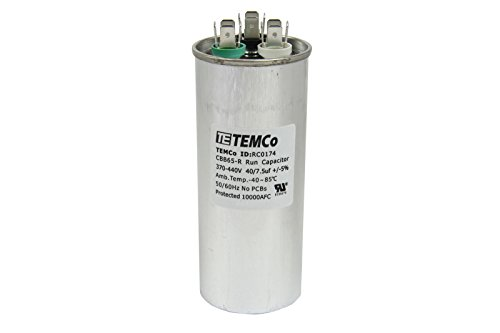 TEMCo Dual Run Capacitor RC0174-40/7.5 mfd 370 V 440 V VAC Volt 40+7.5 uf AC Electric Motor HVAC