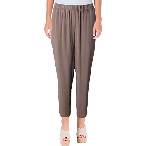 Eileen Fisher Womens Petites Silk Crepe Ankle Pants Gray PS