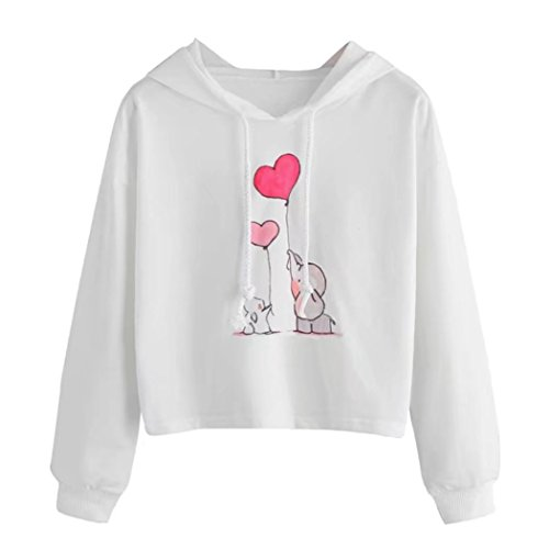 OutTop Women's Casual Elephant Print Hoodie Sweatshirts Teen Girls Pullover Tops