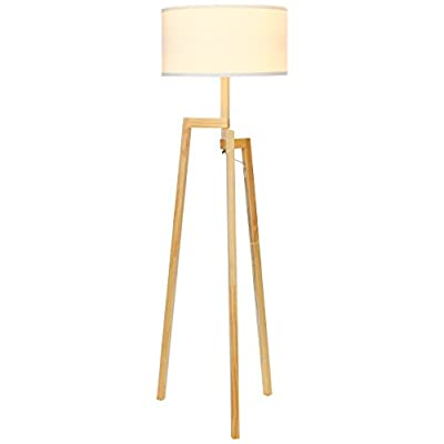Brightech OLD Mia LED Tripod Floor Lamp– Modern Design Wood Mid Century Style Lighting for Contemporary Living or Family Rooms- Ambient Light Tall Standing Survey Lamp for Bedroom, Office -White Shade - STYLISH & MODERN FLOOR LAMP: Brightech's Mia Tripod Floor Lamp has a gorgeous and unique modern design that will look great with any décor. The lamp complements a wide range of styles including mid century modern, minimalist, art deco, and upscale rustic with its birch toned wooden legs and cream white lamp shade. The Mia will look beautiful in nautical style rooms such as a study or guest room. This gorgeous modern lamp is an exceptional choice to add to your home. Height: 5 Feet UNIQUE TRIPOD FLOOR LAMP WITH CYLINDRICAL LAMP SHADE: The fusion of modern and traditional styles makes this lamp an eye catching piece that will impress your friends and family. Evoking the quiet understatement of traditional decor, the 9-inch tall cloth cylindrical shade compliments the natural tripod wooden base. The electrical cord is 10 feet long so that you will never need an extension cord. Add uniqueness and style to any room in your home or office with this gorgeous floor lamp. (110v) BEAUTIFUL WARM LIGHT FOR HOME OR OFFICE: The glowing warm light of the Mia Tripod Lamp will create comfortable ambiance to compliment your interior design scheme. Its soft shaded glow creates a calming effect in a nursery room and gives a warm amber glow to your family or living room. For added convenience, this lamp is smart outlet & smart home device compatible e.g. with Alexa, Echo, Dot, Google Home, etc. and it is compatible with wall switches. (Note: This lamp is not dimmable.) - living-room-decor, living-room, floor-lamps - 31%2BG 4AFQHL. SS400  -