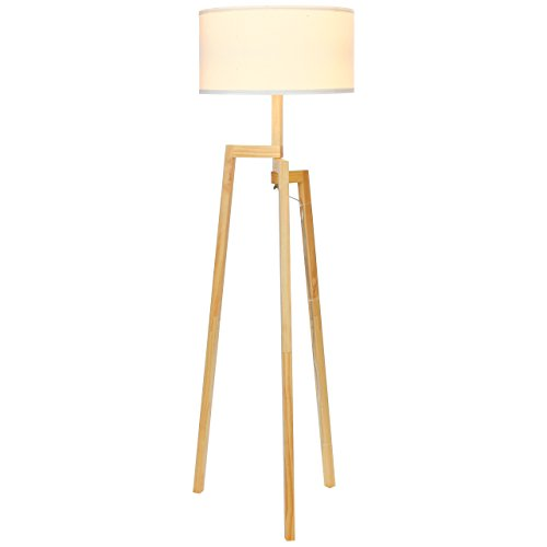 Brightech Mia LED Tripod Floor Lamp– Modern Design Wood Mid Century Style Lighting for Contemporary Living or Family Rooms- Ambient Light Tall Standing Survey Lamp for Bedroom, Office - White Shade (Shaded Lamp Floor)
