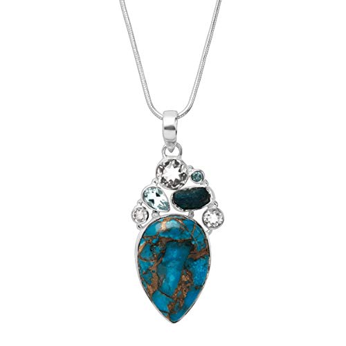Silpada 'True Blue' Reconstituted Copper Turquoise & Natural Stones Pendant Necklace in Sterling Silver, 18