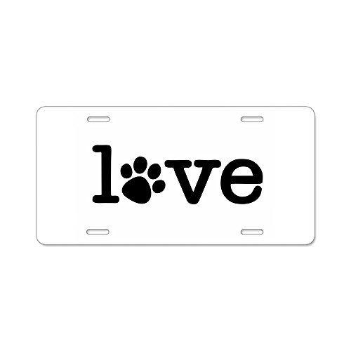 CafePress - Pet love (white) Aluminum License Plate - Aluminum License Plate, Front License Plate, Vanity Tag