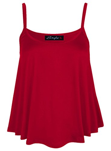 MKL Fashions - Camiseta sin mangas - para mujer Rosso