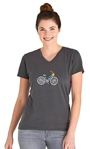 Life is Good Womens Bike Graphic V-Neck T-Shirt Collection,Bike Heart,Night -