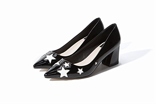 Mee Shoes Women's Chic Mid Heel Pointed Toe Slip On Court Shoes Black ej5AU4g