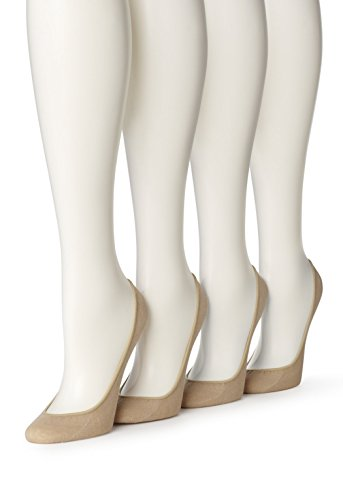 Hue Women's 4 Pair Hidden Cotton Liner, Cream, (M/L) Shoe Size 7-10 ()