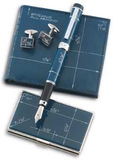 - Acme Blueprint Fountain Pen Blue & White w/Chrome Plated Trim- MEDIUM Nib