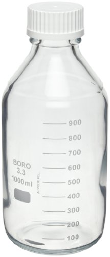Safety Coated Bottles - Wheaton 219940 Safety Coated Bottle, Media/Reagent Style, 1000mL With Polypropylene Pour Ring And 45mm White Polypropylene Unlined Screw Cap, 101mm x 233mm (Case of 12)