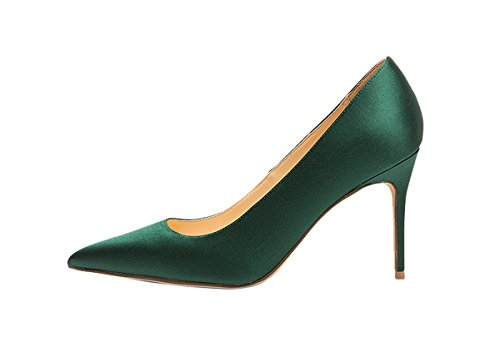 Guoar womes Pointed Toe Large Size Stiletto High Heel Special Materials Pumps shoes Green Silk