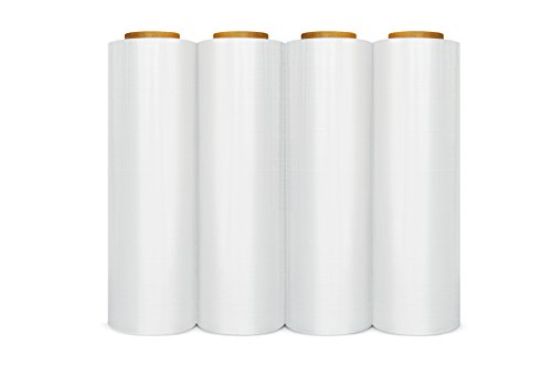 Stretch Film Wrap, Heavy Duty Shrink Wrap Roll, Clear, 18 Inch x 1500 Feet, 90 Gauge, 4 Pack