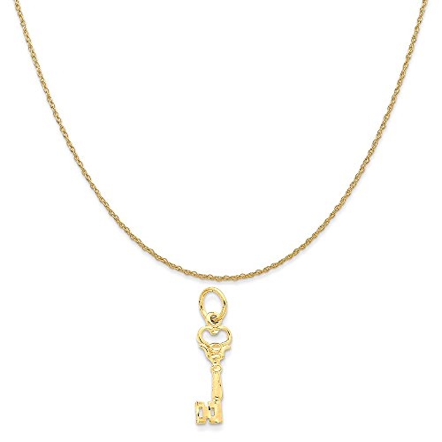 14k Yellow Gold Key Charm on a 14K Yellow Gold Rope Chain Necklace, 20