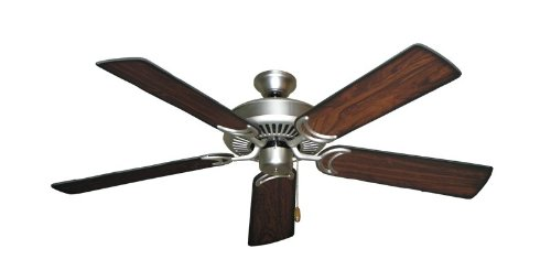 Riviera II Ceiling Fan in Satin Steel with 52″ Burnt Cherry Blades