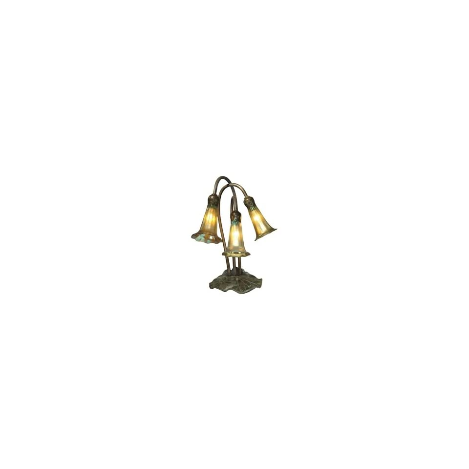 Dale Tiffany 1704/268 Lily Accent Lamp, Antique Bronze/Verde and Glass Shade
