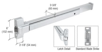 CRL Satin Aluminum Finish Touch Bar Rim Panic Exit Device