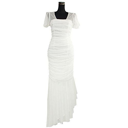 昇る抵当近所のドレス ロングドレス スリット入り 半袖 シャーリング ストレッチ ホワイト レッド