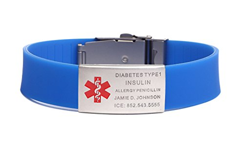 - BAIYI Stainless Steel Rubber Medical Alert ID Sports Bracelet for Men and Women Blue (Free Engraving)