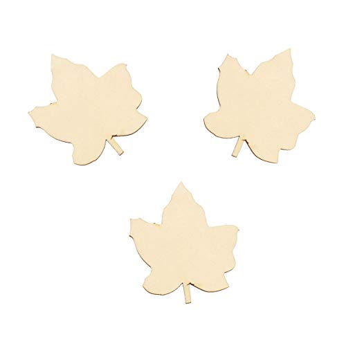 Saim Unfinished Wooden Maple Leaf Shaped Handcraft Halloween Christmas DIY Decor Household Holiday Wedding Birthday Party Gift Ornaments Wooden Crafts to Paint for Kids Paintable Blank 100Pcs ()