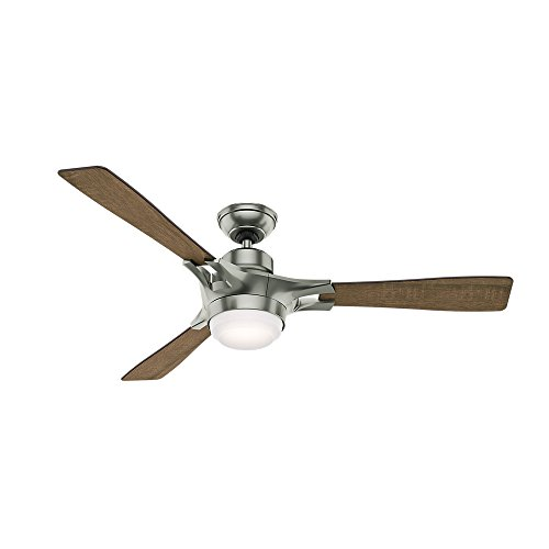 Hunter 59224 Signal Ceiling Fan with Wifi Capability, 54-inch, Satin Nickel, works with Alexa