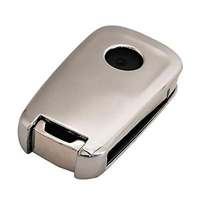 Silver Soft TPU Key Fob Cover Case Remote Jacket Shell Glove for Chevy Chevrolet Equinox Camaro Cruze Malibu Sonic Volt Park Impala Buick Allure Verano Lacrosse: Automotive