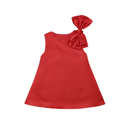 Toddler Kids Baby Girl Sleeveless Wedding Birthday Party A-line Dress with Big Bow (Red, 2-3 Years)
