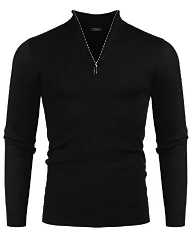 COOFANDY Mens Slim Fit Zip up Mock Neck Polo Sweater Casual Long Sleeve Pullover Sweaters with Ribbing Edge,Black,Large