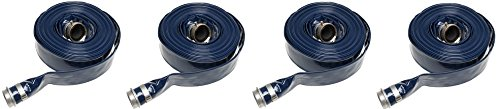 Apache 98138045 2'' x 50' Blue PVC Lay-Flat Discharge Hose with Aluminum Pin Lug Fittings (4-Pack)