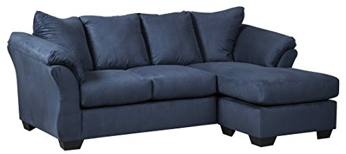 Loveseat Chaise (Ashley Furniture Signature Design - Darcy Contemporary Microfiber Sofa Chaise - Blue)