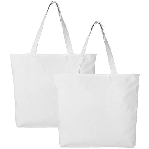 (PACK OF 2 Heavy Canvas Reusable Plain Large Tote Bags with Zipper Top and Zipper Inside Pocket, Art and Craft Beach Travel Tote Bags by BagzDepot - TG261 (White))